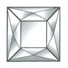 16 Facet Square Beveled Glass Jewels / 2""
